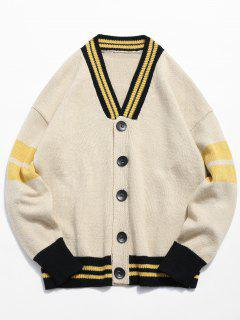 Button Fly Color Spliced Kintted Cardigan - Beige M