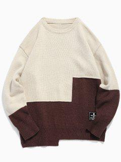 Round Neck Contract Color Pullover Sweater - Warm White 2xl