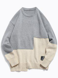Round Neck Contract Color Pullover Sweater - Gray Cloud M
