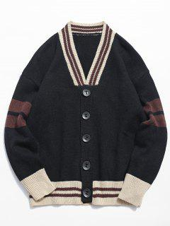 Button Fly Color Spliced Kintted Cardigan - Black Xl