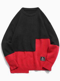 Round Neck Contract Color Pullover Sweater - Black L