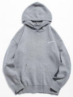Solid Color Hooded Pullover Sweater - Gray Cloud L
