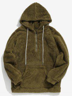Drawstring Half Zip Faux Fur Hoodie - Army Green Xl