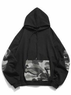 Kangaroo Pocket Camouflage Spliced Hoodie - Black Xl
