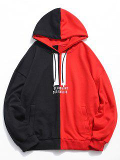 Contract Color Letter Printed Hoodie - Red Xl