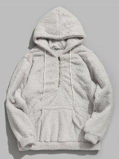 Drawstring Half Zip Faux Fur Hoodie - Gray L