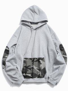 Kangaroo Pocket Camouflage Spliced Hoodie - Gray Cloud 2xl