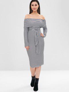 Off Shoulder Belted Striped Dress - Black S