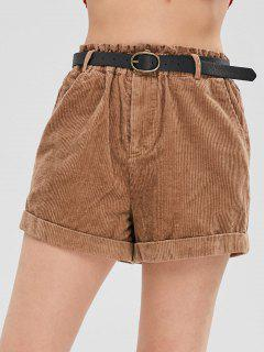 Rolled Belted Corduroy Shorts - Light Brown M