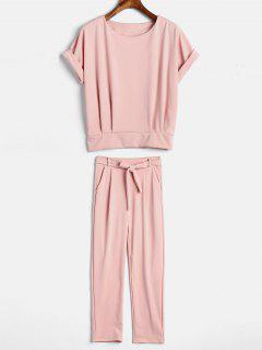 Plain Top And Belted Pants Set - Light Pink M