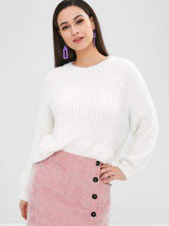 Solid Color Oversize Sweater - White