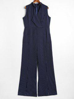 Sleeveless Choker Stripes Jumpsuit - Midnight Blue L