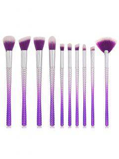 Cosmetic 10 Pcs Plastic Handles Ultra Soft Fiber Hair Makeup Brush Set - Tyrian Purple