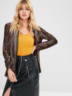 ZAFUL Contrast Striped Velvet Open Blazer - Multi Xl