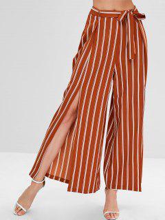 Pantalones Con Cinturón A Rayas De Corte Alto ZAFUL - Tigre Anaranjado Xl