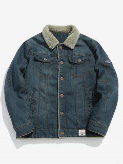 Fluffy Lined Denim Jacket - Mist Blue L