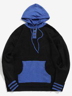 Top Button Contrast Knit Hooded Sweater - Black M