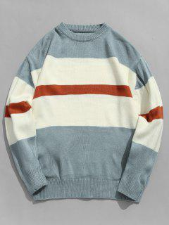 Color Block Stripe Pullover Knitted Sweater - Baby Blue L
