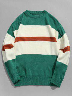 Suéter De Rayas De Bloque De Color Jersey De Punto - Verde De Mar  L