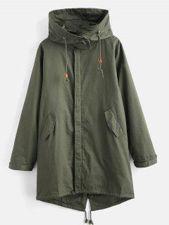 Drawstring Hem Longline Solid Coat - Medium Forest Green S