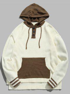 Top Button Contrast Knit Hooded Sweater - Beige L