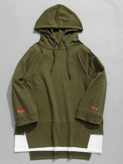 Contrast Double Hem Hoodie - Army Green Xl