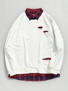 Kariertes Hemd Falsches Zweiteiliges Sweatshirt - Weiß Xl