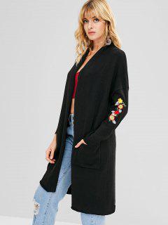 Pockets Shawl Collar Embroidered Cardigan - Black M