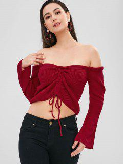 ZAFUL Schulterfrei Cinched Crop Sweater - Rot L