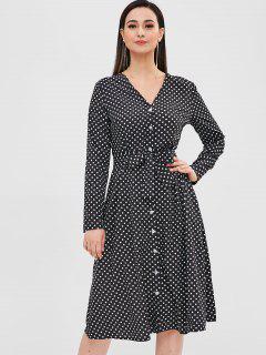 Buttoned Polka Dot Belted Dress - Black M