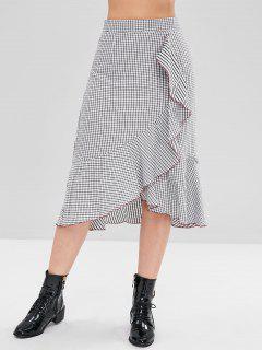 Ruffles Plaid Skirt - White M