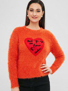 ZAFUL Heart Patched Loose Fluffy Sweater - Orange