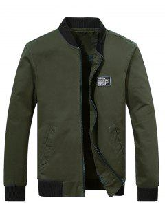 Chest Applique Bomber Jacket - Army Green S