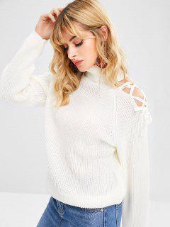 Suéter Grueso De Cuello Alto De Encaje - Blanco Cálido L