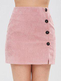 Corduroy Buttoned Mini Skirt - Pink L