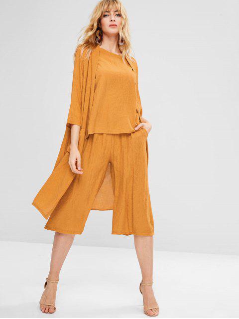 Blusa Pantalones Duster Coat Set de tres piezas - Mostaza L Mobile
