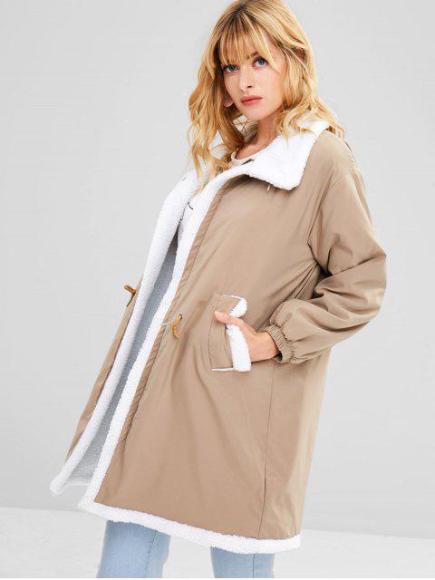 outfit Fleece Drawstring Waist Loose Coat - LIGHT KHAKI L Mobile