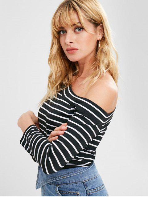 outfit Striped One Shoulder Top - BLACK L Mobile
