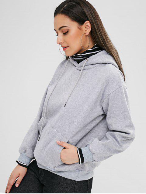 outfits Pocket Fleece Pullover Hoodie - GRAY XL Mobile