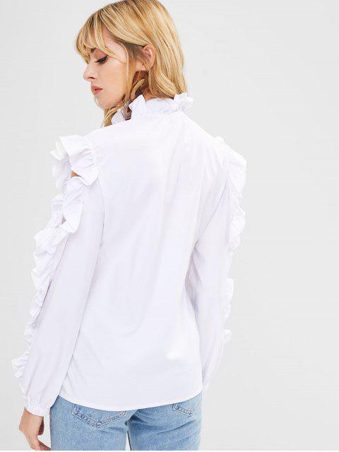 outfits Cutout Ruffles Blouse - WHITE XL Mobile