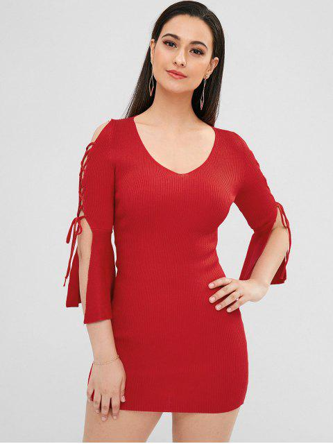 fancy Lace-up Sheath Knit Dress - RED ONE SIZE Mobile