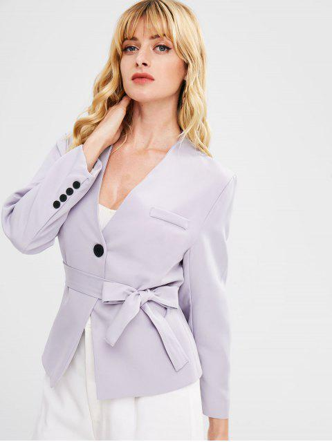trendy Lapelless Blazer With Belt - LAVENDER BLUE ONE SIZE Mobile