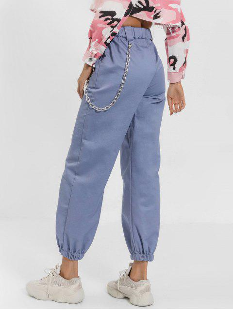 chic Chain Embellished Jogger Pants - BLUE GRAY M Mobile