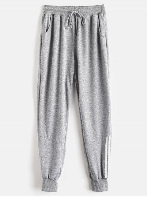 Pantalones deportivos de panel a rayas - Nube Gris XL Mobile