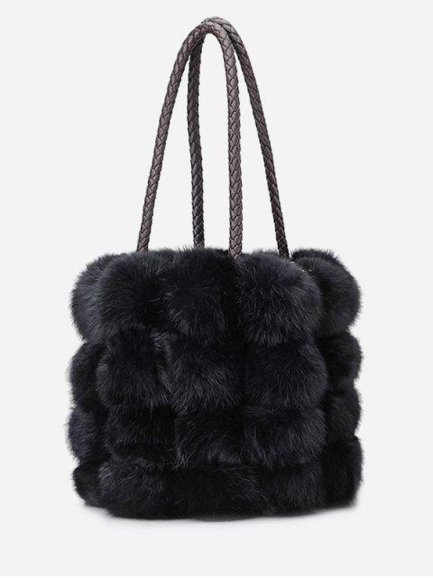 ladies Faux Fur String Design Handbag - BLACK  Mobile