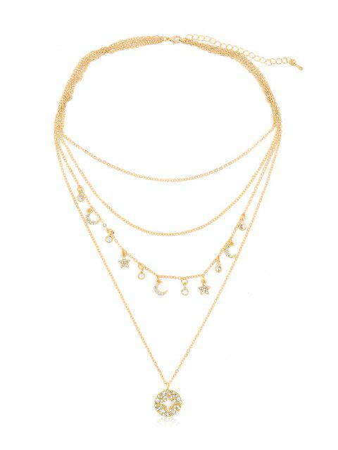 best Rhinestone Star Moon Multi Layers Necklace - GOLD  Mobile