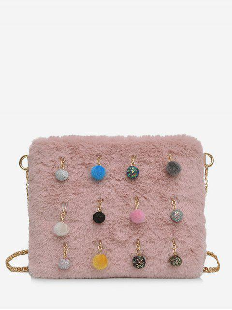 outfits Ball Faux Fur Chain Crossbody Bag - LIGHT PINK  Mobile