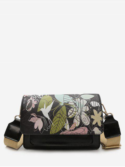 shops Flower Print PU Leather Crossbody Bag - BLACK  Mobile
