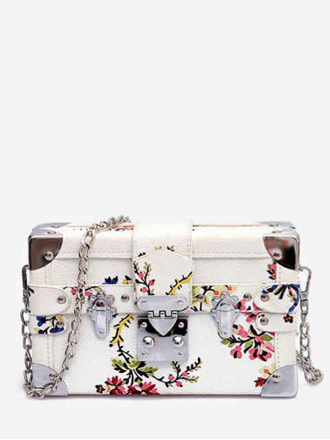 affordable Going Out Flower Print Crossbody Bag - WHITE  Mobile
