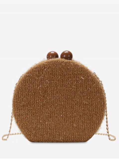 shops Round Shape Hasp Chain Crossbody Bag - BROWN  Mobile